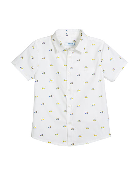 Short-Sleeve Woven Scooter-Print Shirt, Size 12-36 Months