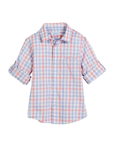 Long-Sleeve Check Shirt, Size 12-36 Months