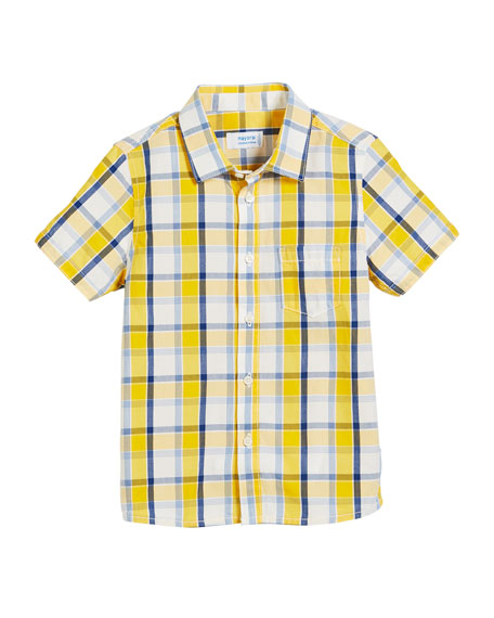 Mayoral Short-Sleeve Check Shirt, Size 12-36 Months