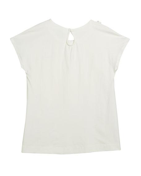 Short-Sleeve T-Shirt w/ 3D Flowers, Size 8-16