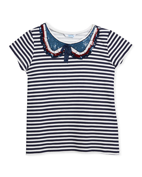 Short-Sleeve Striped T-Shirt w/ Sequin Peter Pan Collar, Size 8-14