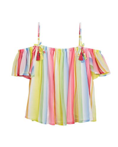 Multi-Stripe Off-the-Shoulder Blouse, Size 8-16
