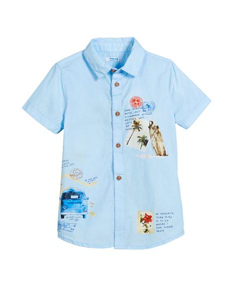 Woven Short-Sleeve Map-Print Shirt, Size 3-7