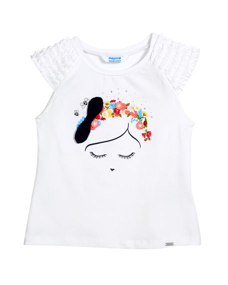 Ruffle-Sleeve Tee w/ Floral Girl Graphic, Size 3-7