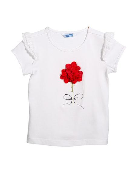 Short-Sleeve T-Shirt w/ 3D Flowers, Size 3-7