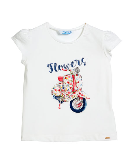 Short-Sleeve Floral Scooter T-Shirt, Size 3-7
