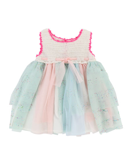 Billieblush Crochet Dress w/ Glittered Tulle Skirt, Size