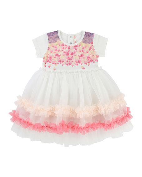 Billieblush Short-Sleeve Jersey & Tulle Dress, Size 2-3