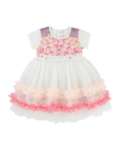 Short-Sleeve Jersey & Tulle Dress, Size 6-18 Months
