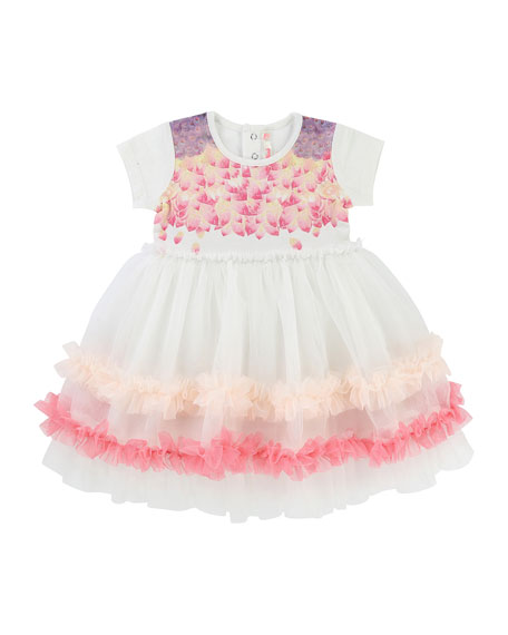 Billieblush Short-Sleeve Jersey & Tulle Dress, Size 6-18