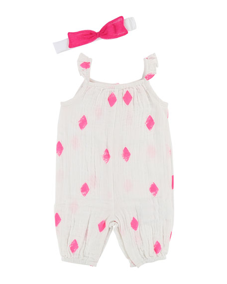 Billieblush Sleeveless Diamond-Print Romper, Size 6-18 Months