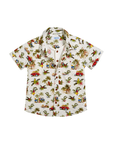 Mayoral Short-Sleeve Jungle-Print Shirt w/ Henley Tee, Size