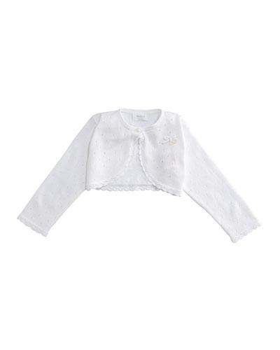 Pointelle Knit Scalloped-Hem Bolero, Size 2-9 Months