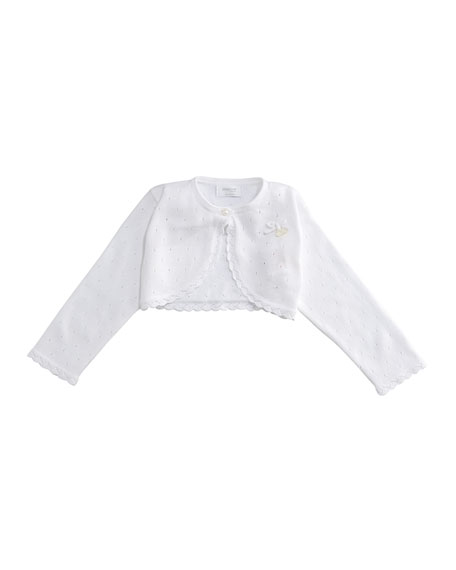 Pointelle Knit Scalloped-Hem Bolero, Size 2-9 Months