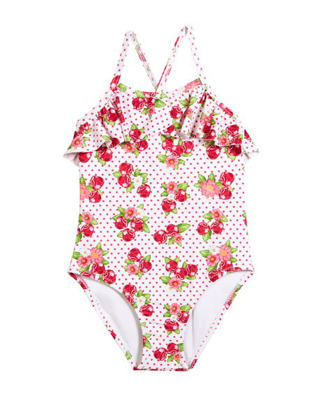 Mayoral Cherry-Print One-Piece Swimsuit, Size 3-7
