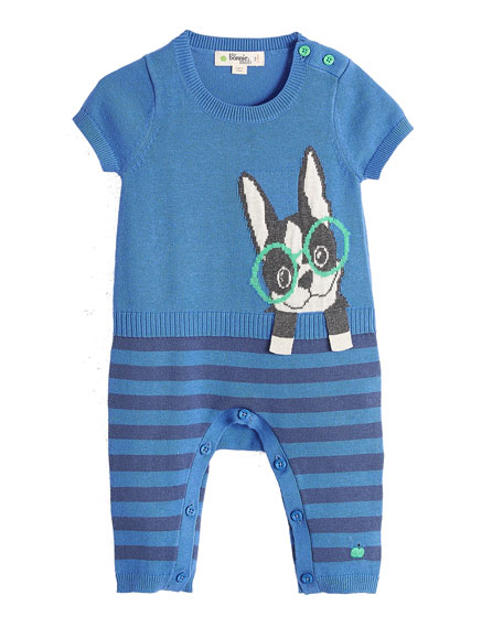 bonniemob Surf Dog Intarsia Short-Sleeve Playsuit, Blue, Size
