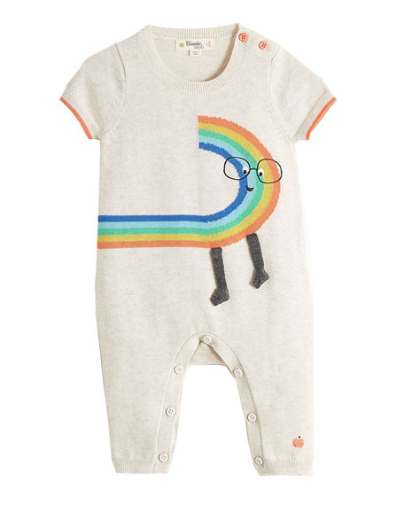 bonniemob Short-Sleeve Rainbow Dude Knit Playsuit, Size 0-18