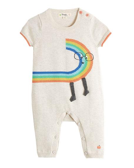 bonniemob Short-Sleeve Rainbow Dude Knit Playsuit, Size 0-18