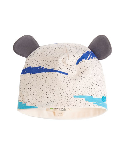 Wave-Print Baby Hat w/ Ears, Blue