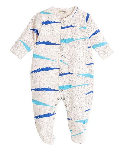 Wave-Print Footie Pajamas, Blue, Size 0-6 Months