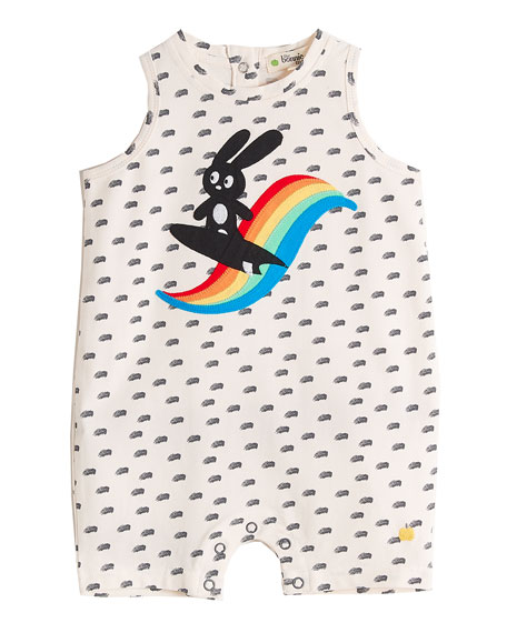 Surf Bunny Sleeveless Printed Playsuit, Size 0-18 Months