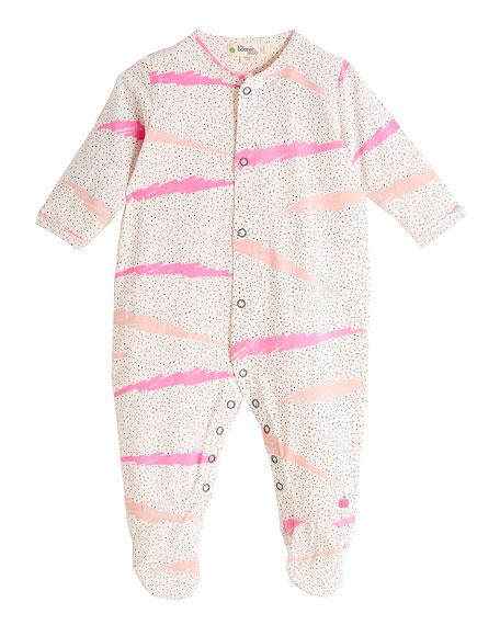 Wave-Print Footie Pajamas, Pink, Size 0-6 Months