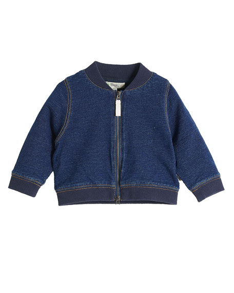 Lightweight Terry Denim Bomber Cardigan w/ Rainbow Embroidery, Size 3-24 Months