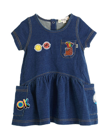 Denim Terry Short-Sleeve Dress w/ Patches, Size 6-24 Months