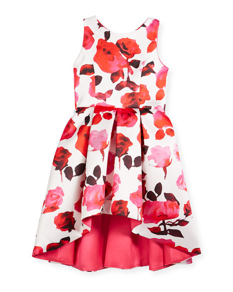 Matte Sateen Floral High-Low Dress, Size 4-6X