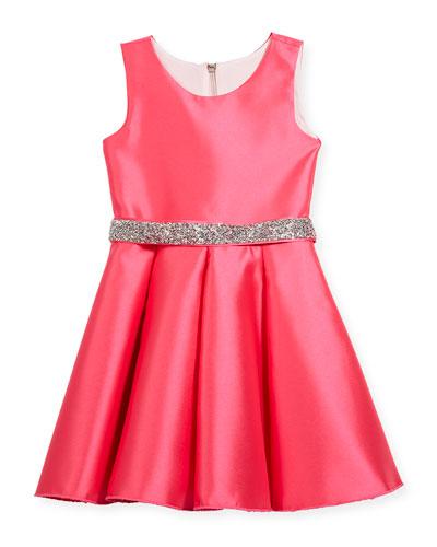 Matte Sateen Swing Dress w/ Crystal Belt, Size 4-6X
