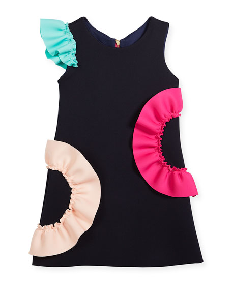 Zoe Neoprene Ruffle Shift Dress, Size 4-6X and