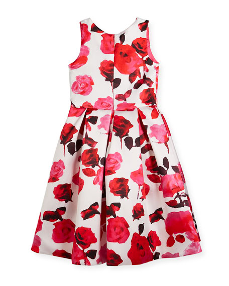 Matte Sateen Floral High-Low Dress, Size 7-16