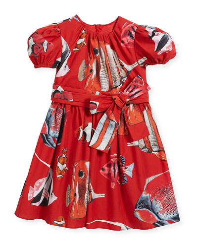Tropical Fish-Print Puffy-Sleeve Dress, Size 8-12