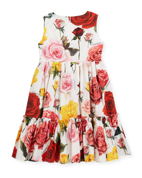 Sleeveless Tiered Multi-Rose Dress, Size 8-12