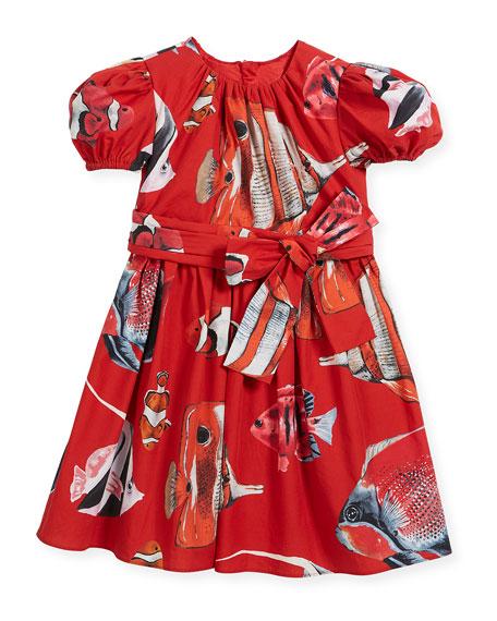 Dolce & Gabbana Tropical Fish-Print Puffy-Sleeve Dress, Size