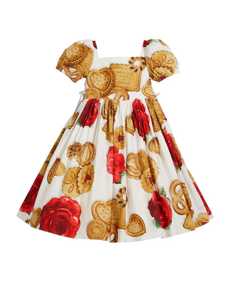 Dolce & Gabbana Biscuit & Roses Puffy-Sleeve Dress,