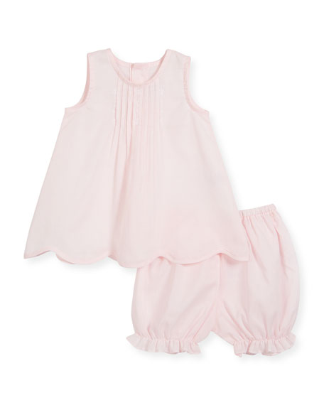Cotton Pintucked Sun Suit Dress w/ Bloomers, Size 0-9 Months