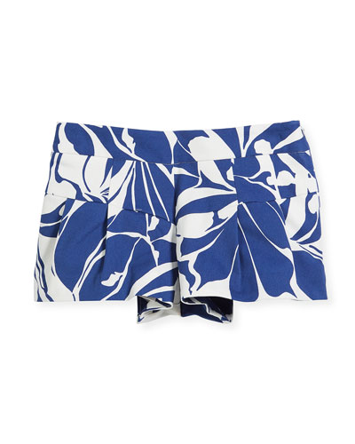 Floral Poplin Pleated Shorts, Size 8-14
