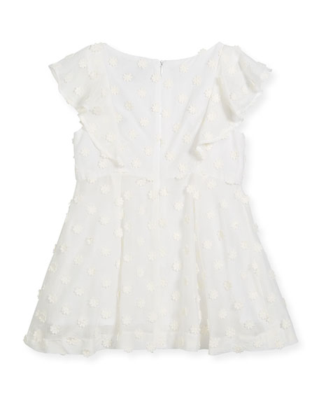 Daisy-Embroidery Ruffle Dress, Size 8-16