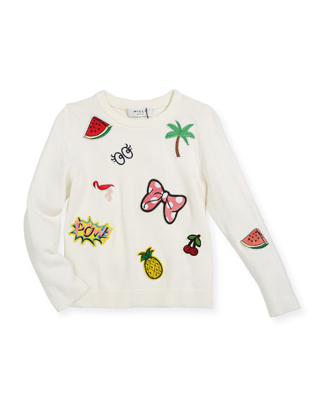 Patches Pullover Sweater, Size 4-7