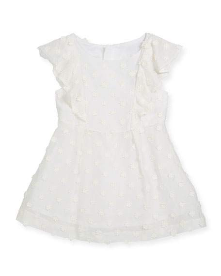 Milly Minis Daisy-Embroidery Ruffle Dress, Size 4-7 and