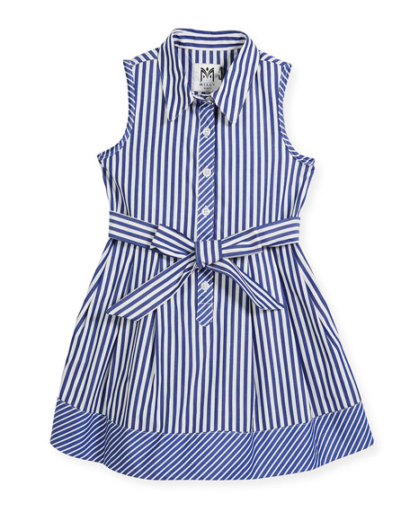 Sleeveless Striped Shirt Dress, Size 8-16