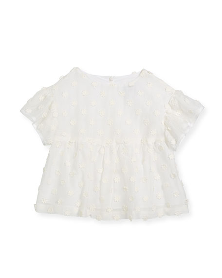 Milly Minis Lindy Daisy-Embroidery Blouse, Size 4-7 and