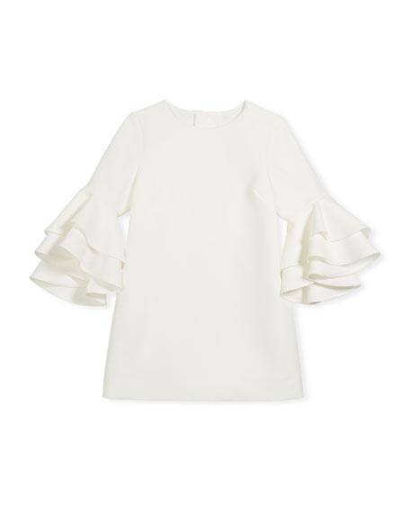 Nicola Cady Shift Dress w/ Ruffle Bell Sleeves, Size 8-16