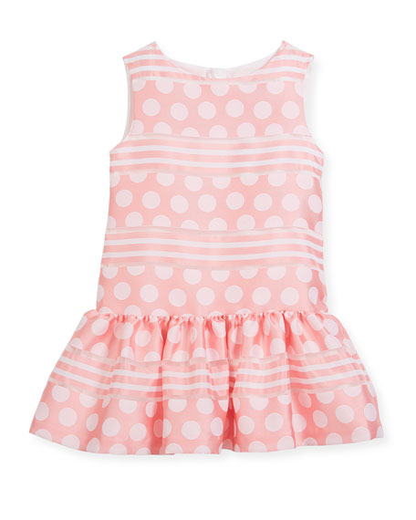 Polka-Dot & Stripe Drop-Waist Sleeveless Dress, Size 10-12