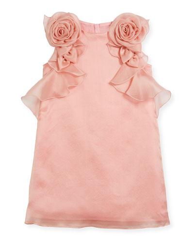 Silk Organdy Sheath Sleeveless Dress w/ Rosettes & Ruffles, Size 10-12