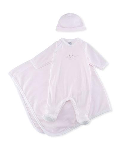 3-Piece Millerarie Stripe Cotton Layette Set, Pink/White, Size 1-9 Months