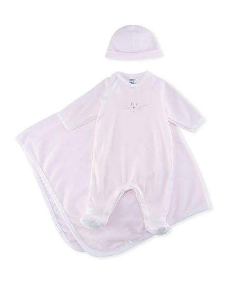 Petit Bateau 3-Piece Millerarie Stripe Cotton Layette Set,