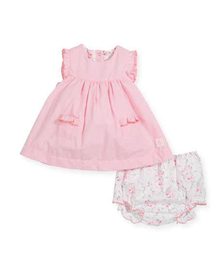 Petit Bateau Ruffle-Sleeves Check Dress w/ Floral Bloomers,