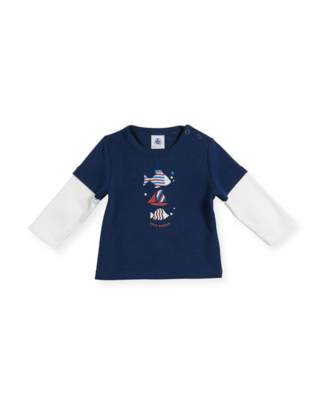 Long-Sleeve Illusion Fish T-Shirt, Size 6-36 Months
